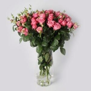 Boeket Artesia: een trosroos die echt een unieke roos is. De relatief grote bloem heeft een zeer uitsprekende roze kleur met donkere randen.